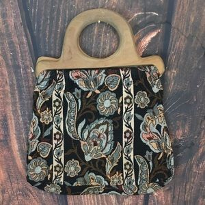 Victoria Inc Wooden Handle Purse Vintage